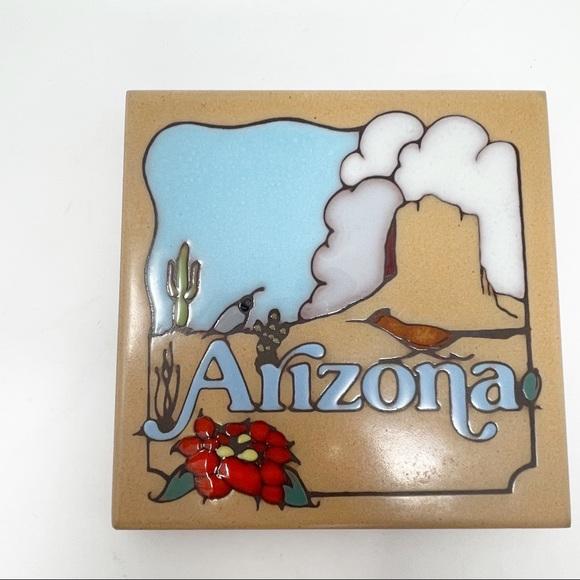 Vintage MASTERWORKS Ceramic Tile Trivet ARIZONA
